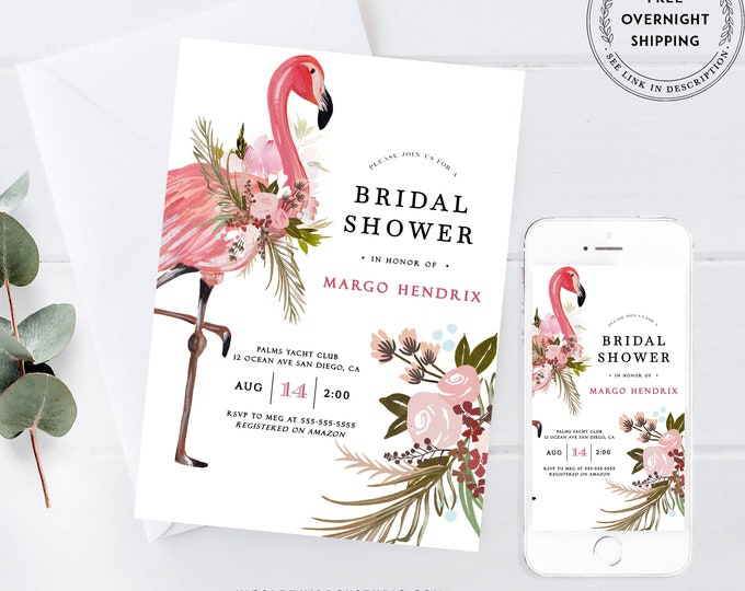 Flamingo Bridal Shower Invitation Template, Flamingo Bachelorette Invite, Digital Download, Printed, Printable, Luau Theme, Brunch, Palm PDF