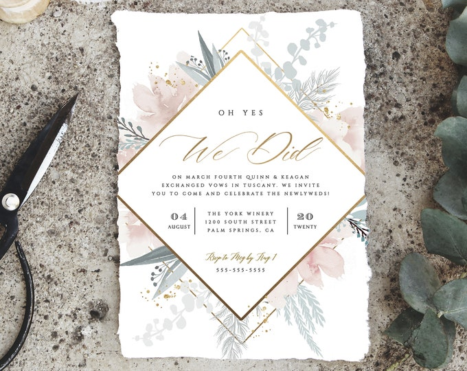 Printable Elopement Party Invitations, INSTANT DOWNLOAD, Mint, Blush, Pink, Gold, Editable Text, Elegant, Template, Reception Invitation DIY