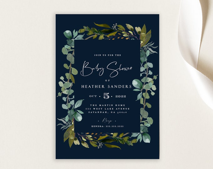 Editable Baby Shower Invite, INSTANT DOWNLOAD, Gender Neutral, Navy and Greenery, Watercolor, Boy or Girl, Twins, Printable, Invitations