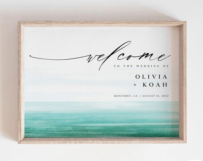 Printable Beach Wedding Sign, Instant Download, Tropical Decor, Destination Wedding, Florida, Hawaii, Caribbean, Large Signage, Welcome Sign
