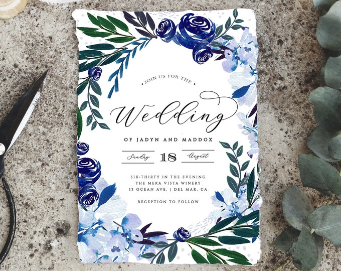 Wedding Invitation Suite, INSTANT DOWNLOAD, Navy, Greenery, Rustic, Set, Dusty Blue, Editable Text, Printable Invitation Template, Florals