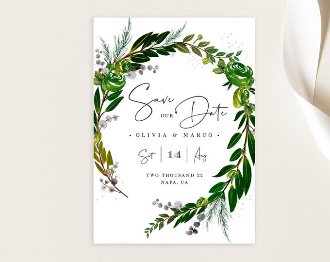 INSTANT DOWNLOAD Save the Date Photo Card, Editable Template, Wreath, Watercolor, Greenery, Outdoor Wedding, Leaves, Picture, Save Our Date