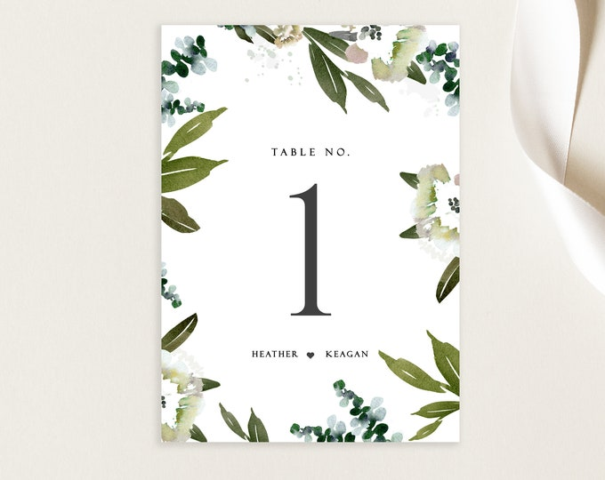 Table Numbers, Wedding, INSTANT DOWNLOAD, Greenery, Printable Numbers, Rustic Wedding, Wedding Decor, DIY Wedding, Template Table Numbers 49