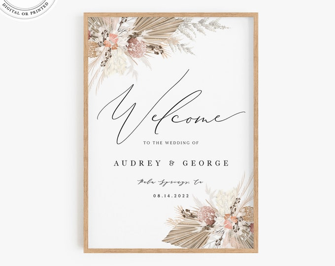 Bohemian Welcome Sign Template, Dried Pampas Grass, Printable Large Wedding Signage, Boho Poster Printable, Instant Download, Mauve Natural