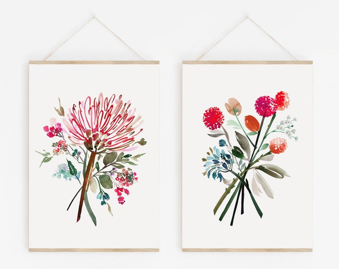 Bright Modern Watercolor Print Set of 2, Printable Artwork, Colorful Wildflower Painting Diptych, Digital or Physical Print, Home Decor, PDF