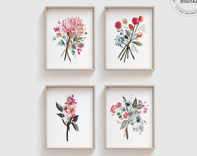 Modern Watercolor Print Set of 4, Colorful, Gallery Wall Matching, Pink Botanical Flowers, Pink and Green, Teen, Kids, Vibrant Floral Print