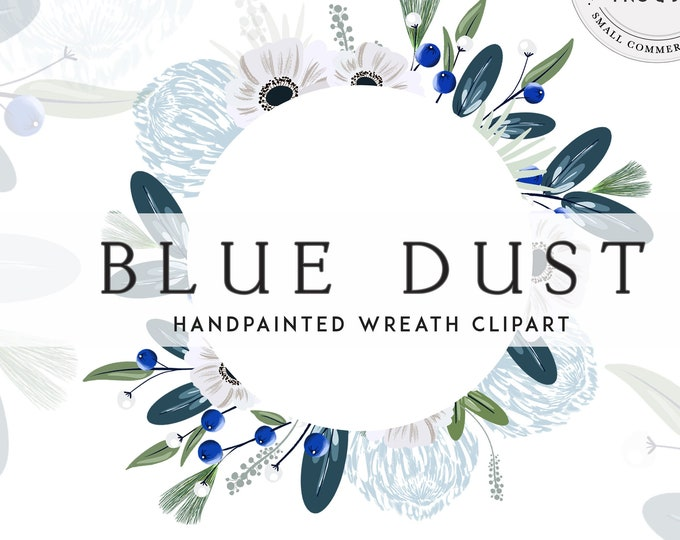 Dusty Blue Frame Clipart, Powder Blue and Navy Watercolor Wreath Clip Art, Christmas Digital Graphics, Instant Download Small Commercial Use