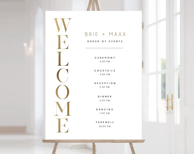 Gold Order of Events Sign Template, Order of Events Sign, Wedding Welcome Sign Template, Printable Welcome Sign, Gold, Minimalist Welcome