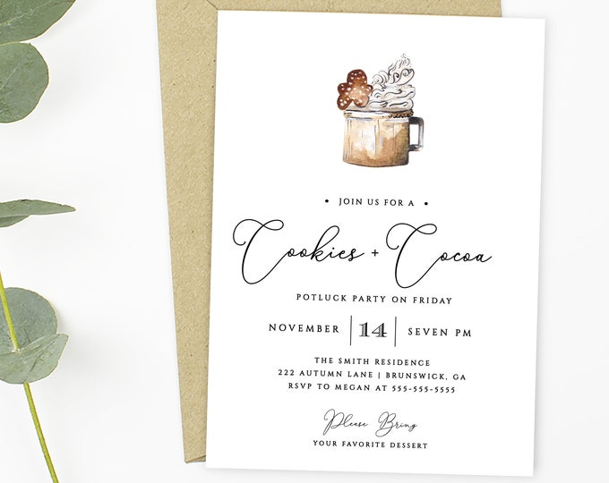 Holiday Party Invitations, Downloadable, Hot Cocoa, Printable Template, Self-Editing Invitation, Baking Party, Thanksgiving, Christmas Party
