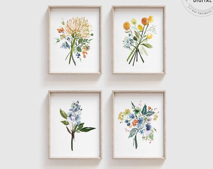 Floral Watercolor Set of 4 Prints, Printed or Digital Download, Blue, Yellow, Botanical Art, Coastal Print Series, Modern Wall Decor Gift