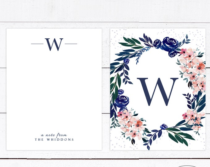 BLUSH AND NAVY Thank You Cards Wedding Thank You Stationery Blank Monogrammed Notecards Navy Blush Watercolor Personalized Rustic Gift Idea