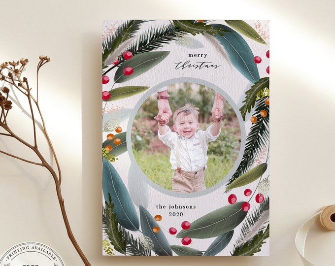 Christmas Card Template, Downloadable Holiday Card with photo, Customizable Christmas Photo Card, Instant Download, Overnight Printing, DIY