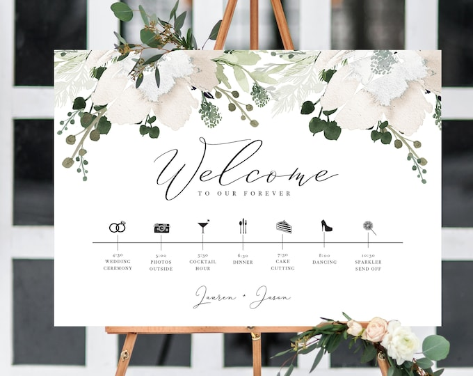 Wedding Order of Events Timeline, Poster, Sign, Day Timeline, Icons, Editable, Program Sign, Greenery, Neutral, Rustic, Welcome Sign, 909