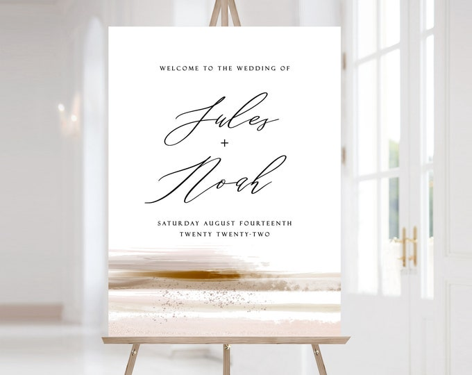 Welcome Sign Bridal Shower, Wedding Welcome Sign, Downloadable, Blush, Copper, Minimalist, Editable, Instant Download, Neutral, Template 103