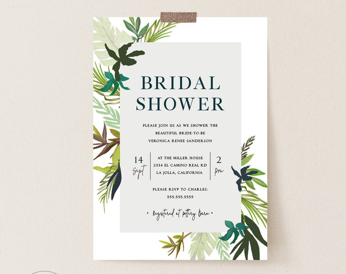 Bridal Shower Invitation Template, Printable, Tropical Bridal, Printable Invitation, Editable Template, Tropical Leaves, Luau Bridal Shower