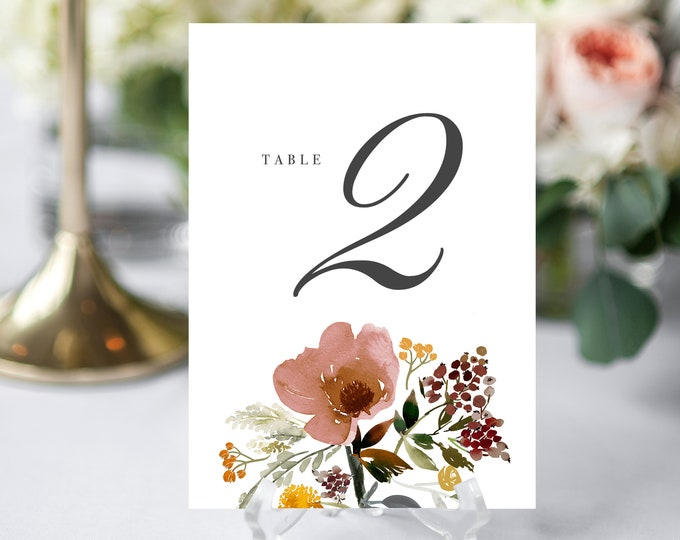 INSTANT DOWNLOAD TABLE Numbers, Editable, Printable, Dusty Rose Modern Wedding Table Number Template Table Number Card, Blush, Fall 044