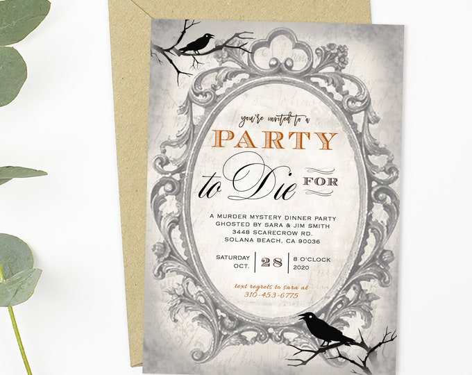 INSTANT DOWNLOAD HALLOWEEN Party Invitations, Murder Mystery Dinner Party, Printable Halloween, Diy Invitation, Adult Halloween, Digital pdf