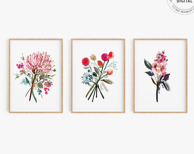 Modern Pink Watercolor Triptych, Tropical Flower Art Prints, Set of 3, Bright Colors, Tropical Painting, Printed or Digital Download, Decor