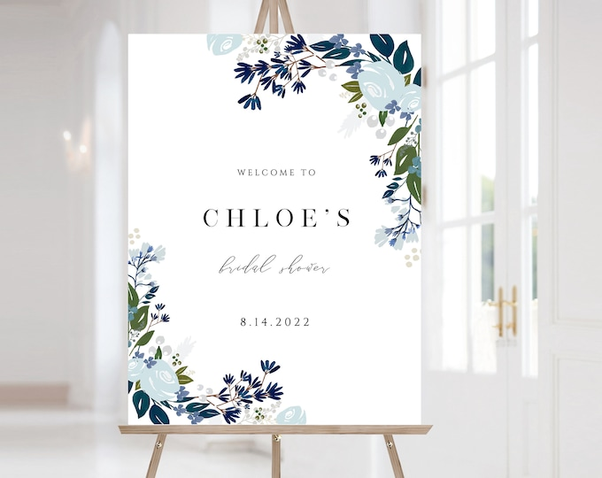 Navy Welcome Sign, Blue, Greenery, Outdoor, Editable, Large, Powder Blue, Instant Download, Poster Sig  Downloadable Baby Shower, Bridal 122