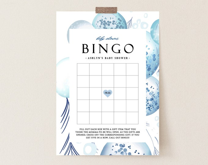 Baby Shower Bingo Card, Baby Boy, Blue, Grey, Instant Download, Printable Bingo Cards, Boy Shower Games, Balloons, Digital Download Twin 152