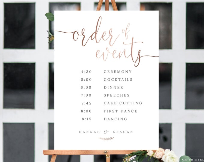 Order of Events Sign, Rose Gold, Order of the Day, Instant Download, Welcome Sign, Wedding Sign Template Printable, Printed UK AUS Sizes 041
