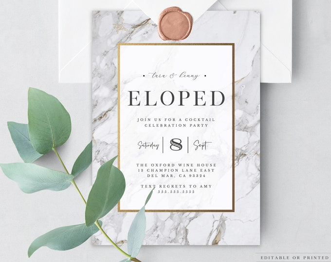 INSTANT DOWNLOAD Elopement Party Invitation, Minimalist, We Eloped, Elopment Announcement, We Tied the Knot, Modern, Printable, Editable 002