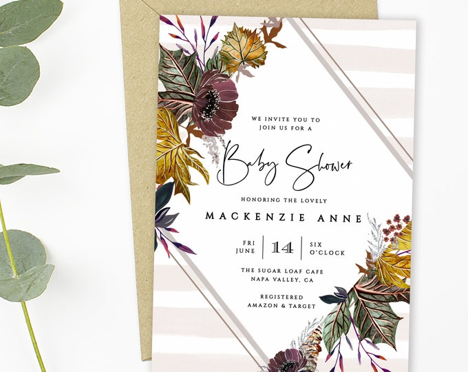 INSTANT DOWNLOAD Fall Baby Shower Invitations, Editable Text, Fall Foliage, Couples Shower, Gender Neutral, Leaves, Printable, Template, DIY