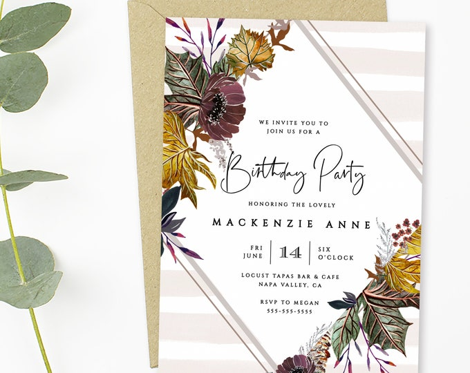 INSTANT DOWNLOAD Fall Birthday Party Invitations, Editable Template, Fall Foliage, Maple Leaves, Harvest, Any Age Birthday Party Invites,DIY