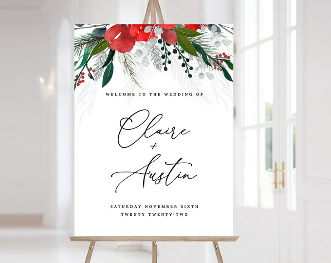 Wedding Welcome Sign Christmas, Winter Wedding Welcome Sign, Holiday Welcome Sign, Printable Welcome Editable Template Instant Download 1040