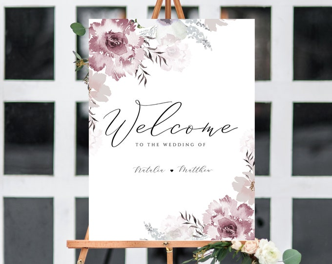 Welcome Sign Template, Dusty Rose, Pink and Gray, Blush, Mauve, Large Sign, Wedding, INSTANT DOWNLOAD, Printable, Editable Text, Modern, 445
