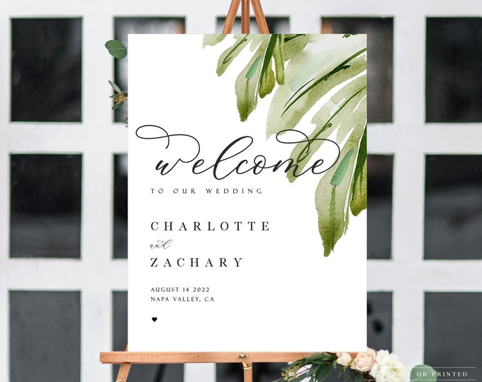 Wedding Welcome Sign, INSTANT Download, Tropical Wedding, Greenery, Monstera Palm, Palm Leaf,Editable Template,Printable,Modern, UK, AUS,006