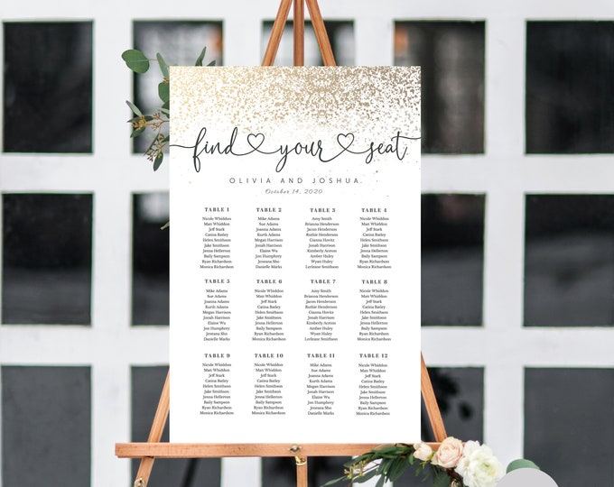 EDITABLE SEATING Chart, Gold, Glitter, Wedding Reception Seating Chart, Instant Download, Printable, Editable Template, UK AuS Sizes, Gold