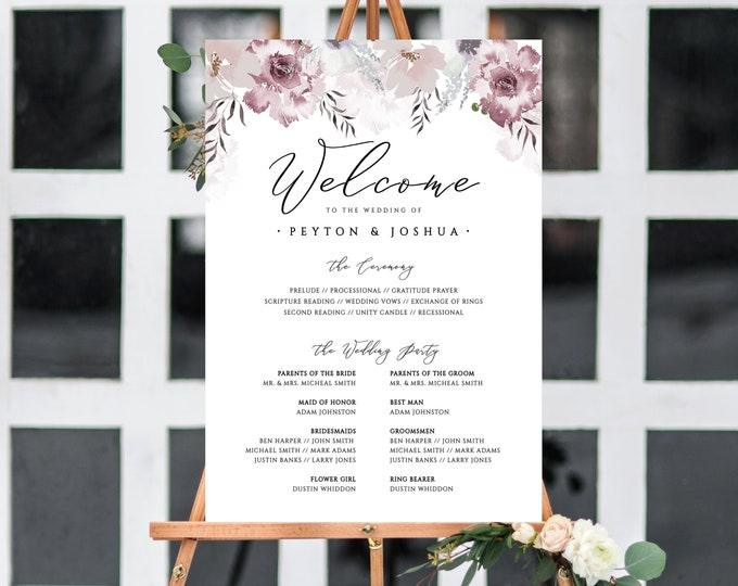 Wedding Program Sign, Printable, Template, Self-Editing Program, Poster Sign, Fully Editable Text, Dusty Rose, Blush, Florals, Gray, DIY 445