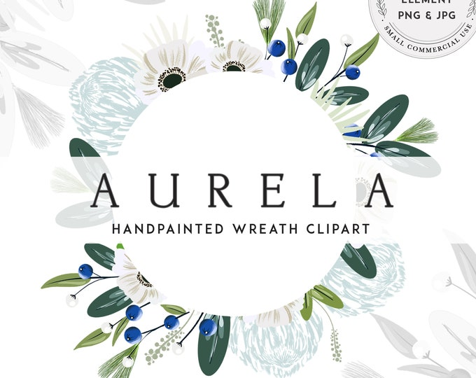 Greenery and Dusty Blue Clipart, Floral Wreath Clip Art, Small Commercial Use, Instant Download, Navy and Light Blue Flowers, Watercolor Art