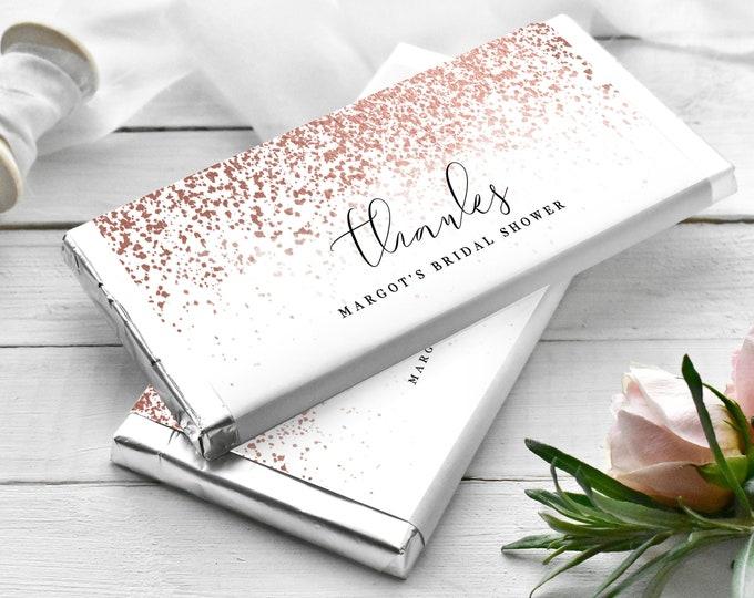 Candy Bar Wrapper Template, Hershey's, Chocolate Bar, Rose Gold, Wedding Favor, Bridal Shower, Baby Shower Favor, Printable Downloadable 755