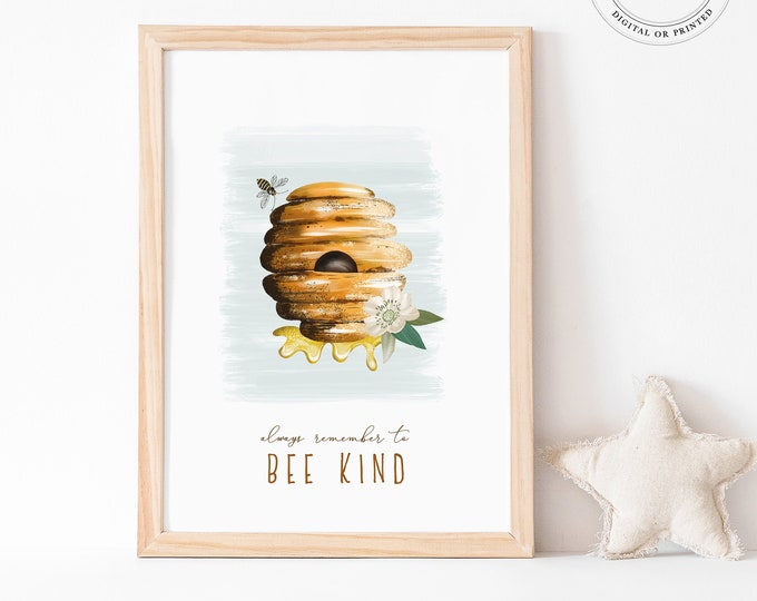 Bumble Bee Print, Kid's Bedroom Decor, Bee Kind Art Print, Illustration Printable Art, Bee Hive, Watercolor Printable, Cute Baby Shower Gift