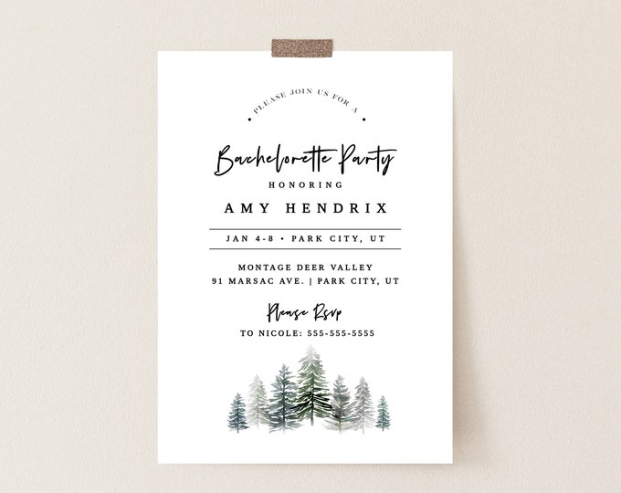 Bachelorette Party Invitations Mountains, Instant Download, Winter Bachelorette Party Invitations, With Itinerary, Lodge Editable Invite 127