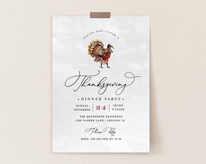 Thanksgiving Dinner Invitation, Thanksgiving Party Invite, Instant Download, Holiday Dinner Party Invite, Potluck Party, Turkey, Editable
