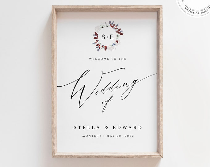 Rustic Burgundy Welcome Sign, Instant Download, Modern Script, Self-Editing, Fall Merlot, Printable Plum Wine Wedding Sign, Red Wine, Large