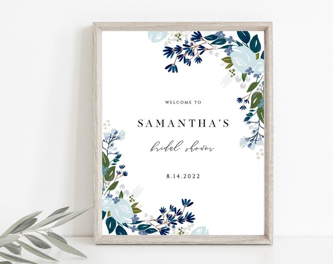 Navy Blue Table Sign, Wedding Table Signs, Powder Blue, Instant Download, Green, Printable, Editable Text, Men, 8x10, 5x7 Bridal Shower, 122