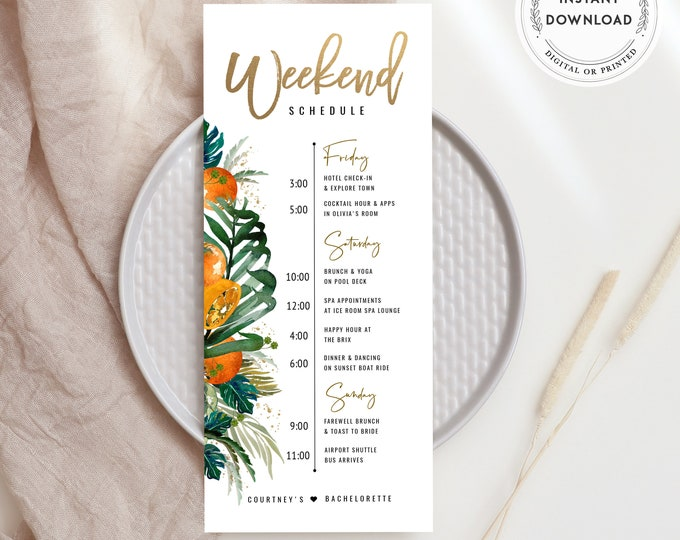 Tropical Bachelorette Itinerary, Instant Download, Editable Schedule, Beach Bachelorette Template, Tropical Flowers, Citrus Orange, Greenery
