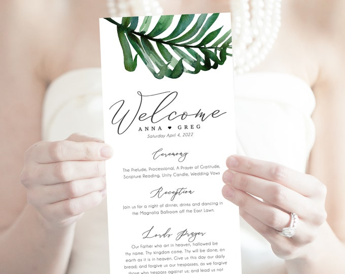 Printable Wedding Programs, INSTANT DOWNLOAD, Emerald Green, Tropical, Beach Wedding, Editable Programs, Order of Events, Palm Leaf,Template