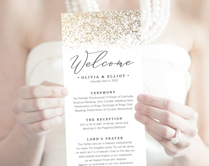 PRINTABLE Wedding Programs, INSTANT DOWNLOAD, Gold, Modern Program, Editable Template, Templett, Order of Events, Downloadable, Gold Foil