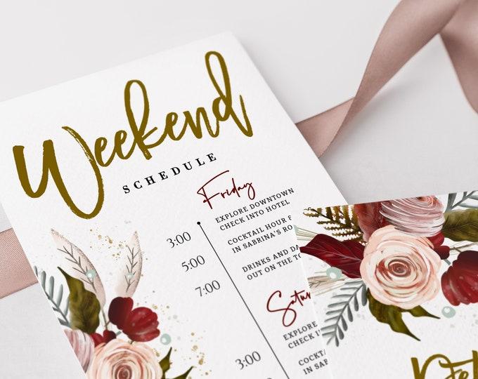 Bachelorette Weekend Itinerary, Editable, Template, Rustic, Burgundy, Marsala, Digital, Wedding Weekend, Printable, Downloadable, Hen Party