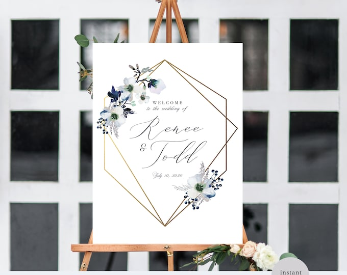 REHEARSAL DINNER WELCOME Sign, Gold, Editable, Printable, DiY, Instant Download, Geometric Frame, Modern, Watercolor, Self Editing, AUs, Uk