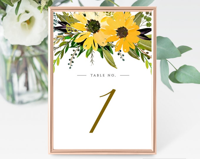 Editable Table Number Card, INSTANT DOWNLOAD, Sunflowers, Greenery, Yellow, Rustic, Table Numbers, Printable, Self Editing, DIY Template 042