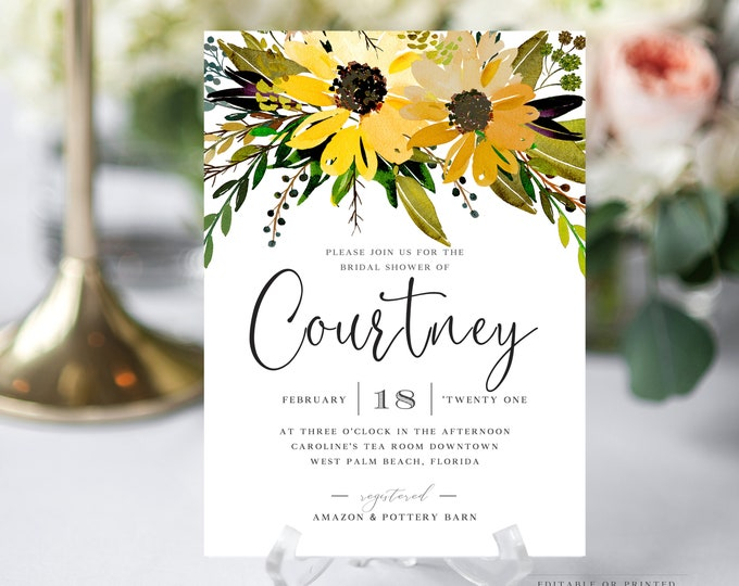 INSTANT DOWNLOAD Sunflower Bridal Shower Invitation, Spring Bridal Shower, Watercolor Florals, Greenery, Printable, Yellow, Editable, 042