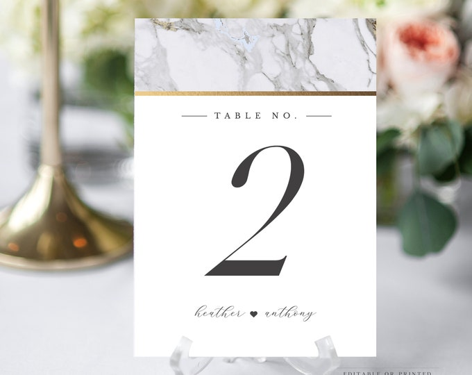 Instant Download Table Number Card, Wedding, Gold, Carrara Marble, Modern Table Number Card, Printable Table Numbers, Minimalist, Gray 002
