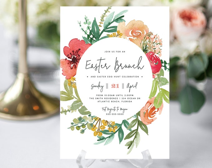 Easter Egg Hunt Invitations, INSTANT DOWNLOAD, Spring, Garden Party, Easter Brunch Invitation, Pink Florals, Wreath, Fully Editable Text