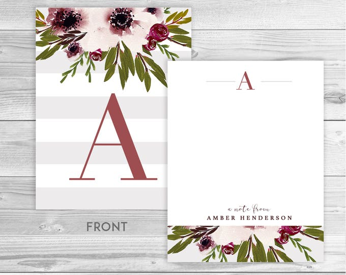 BOTANICAL PERSONALIZED NOTECARDS, Stationery for Her, Monogram Stationery Gift, Professional Stationery, Greeting Cards, Any Occasion, Blank